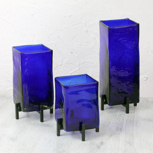 Mexican Handblown Glass Vases with Stands Set of 3 'Blue Hurricane'