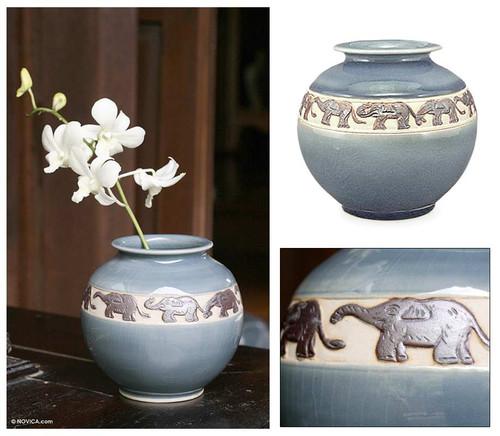Celadon ceramic vase 'Elephant Ring'