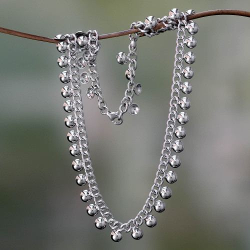 Sterling Silver Chain Necklace 'Island Dew'