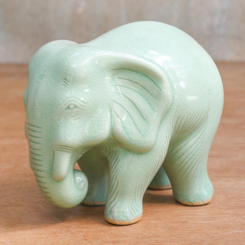 Handcrafted Celadon Ceramic Sculpture 'Elephant Power  Tranquility'