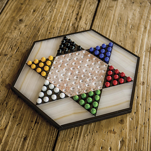 Hand Crafted Marble Chinese Checker Game Set 'Colorful Contrast'