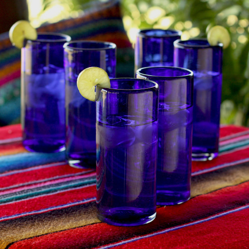 Blue Handblown Glass Cocktail Drinkware Set of 6 'Pure Cobalt'