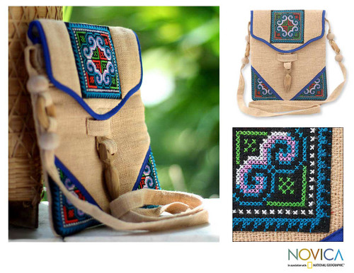 Hand Crafted Hill Tribe Hemp Handbag 'Midnight Blossom'