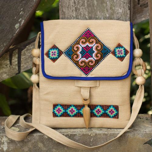 Unique Thai Hill Tribe Hemp Embroidered Handbag 'Miracle Earth'