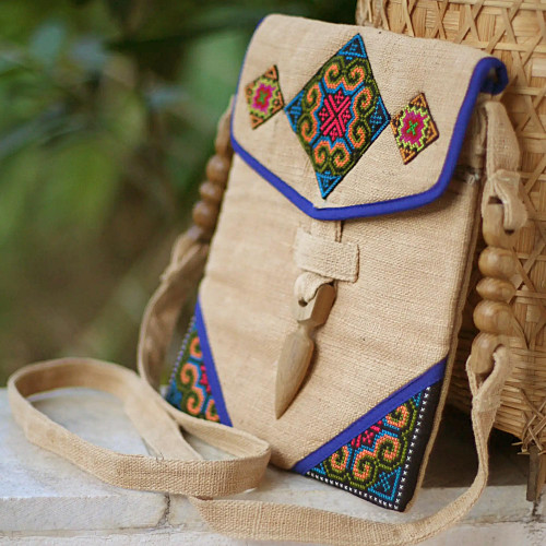 Fair Trade Women's Hill Tribe Hemp Shoulder Bag 'Miracle Blue'