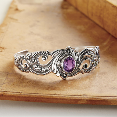 Amethyst and Sterling Silver Cuff Bracelet 'Regal Ivy'
