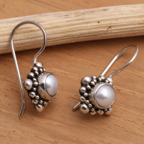 Pearl Sterling Silver Drop Earrings 'Moon Face'