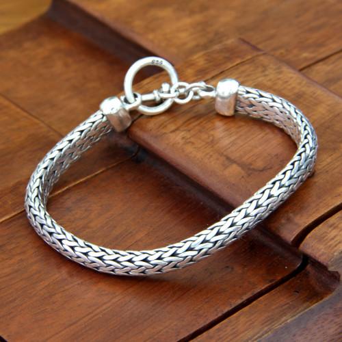Men's Sterling Silver Woven Chain Bracelet 'All Night'