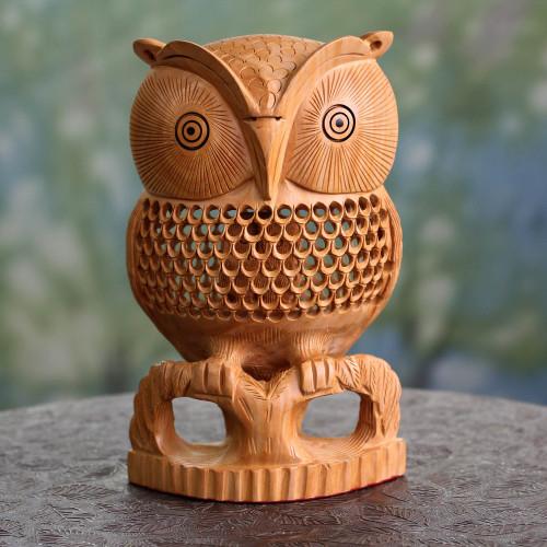 Artisan Crafted Wood Bird Sculpture 'Night Owl'
