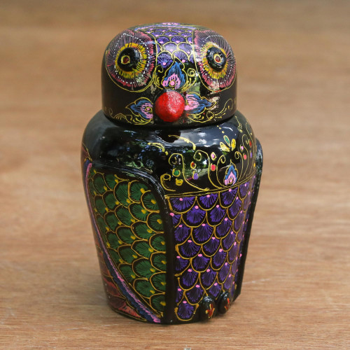Hand Painted Lacquered Wood Box 'Owl and Its Secrets'