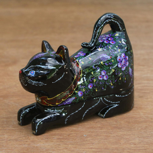 Lacquer Wood Trinket Box 'Royal Heritage Cat'