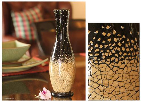 Eggshell mosaic vase 'Falling Snow'