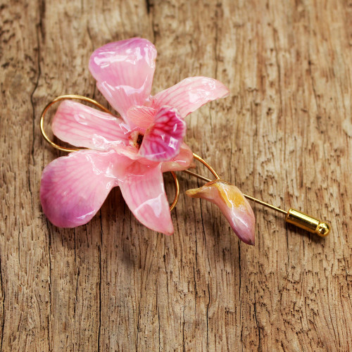 Unique Natural Flower Gold Plated Brooch Pin 'Eternal Orchid'