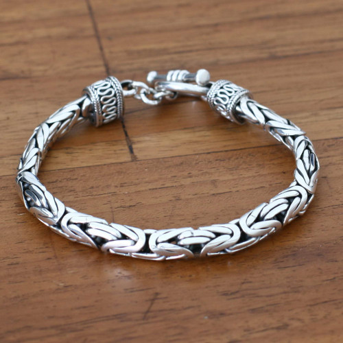 Men's Sterling Silver Bracelet 'Silver Dragon'