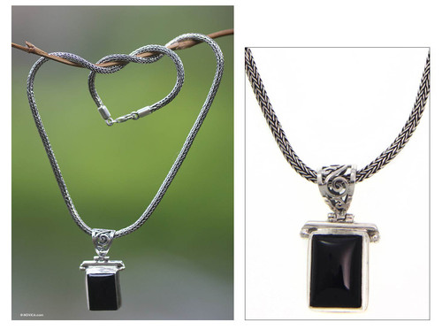 Onyx Sterling Silver Pendant Necklace  'Dream Guide'
