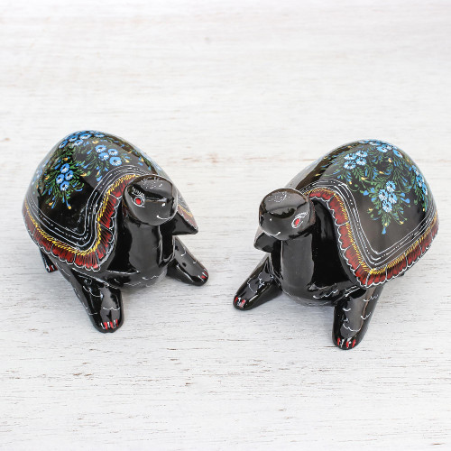 Handcrafted Lacquerware Decorative Boxes Pair 'Good Luck Turtles'