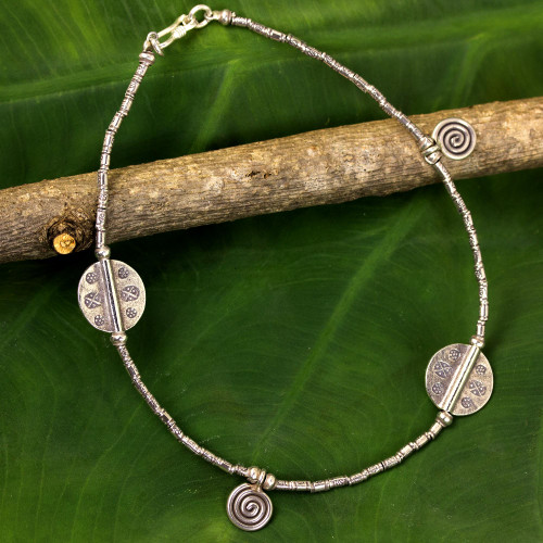 Hill Tribe Silver Charm Anklet 'Jungle Dance'