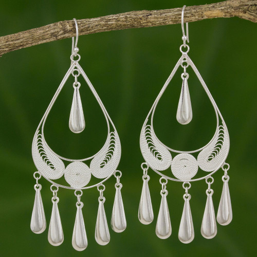 Handcrafted Sterling Silver Chandelier Earrings 'Mystic Rain'