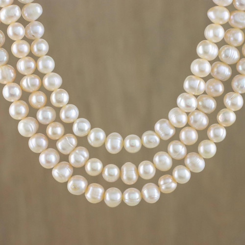 Thai Cultured Peach Pearl Triple Strand Necklace 'Triple Halo'