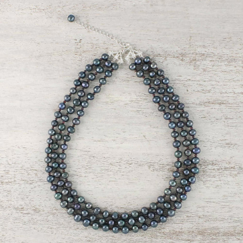 Handmade Grey Cultured Pearl and Garnet Strand Necklace 'Magic Pearl'