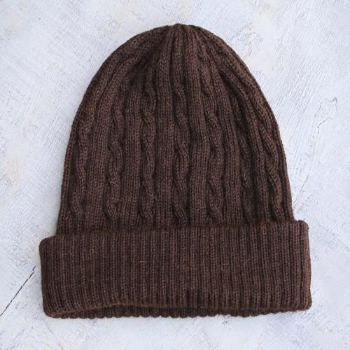 Hand Woven 100 Alpaca Wool Beanie Hat 'Brown Mountain Roads'