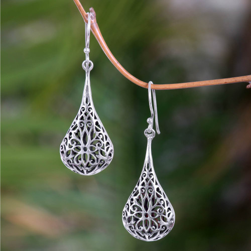 Sterling Silver Dangle Earrings 'Floral Reign'