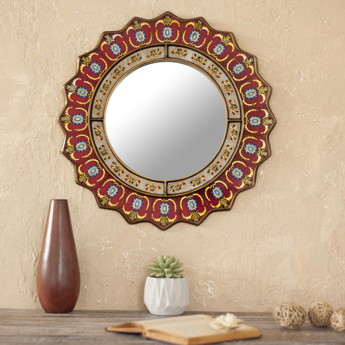 Red Reverse-Painted Glass Wall Mirror from Peru 'Ruby Medallion'
