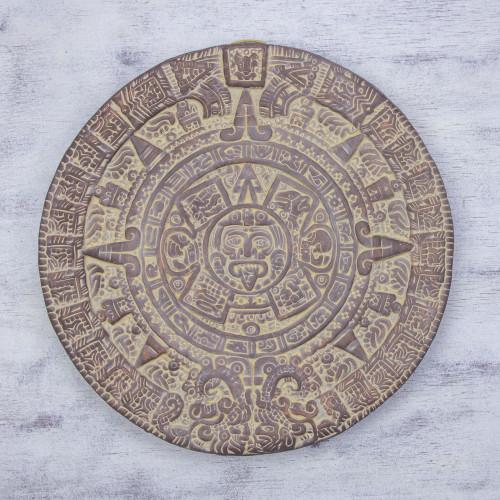 Unique Mexico Archaeological Ceramic Calendar 'Aztec Calendar in Umber'