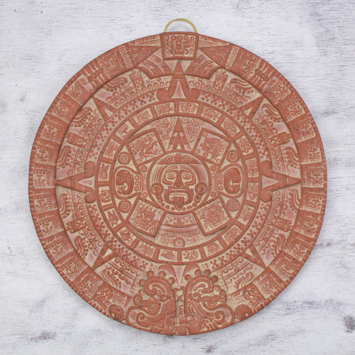 Archaeological Ceramic Plaque from Mexico 'Burning Aztec Sun Stone'