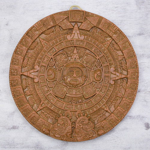 Ceramic Archeological Wall Plaque Handmade in Mexico 'Aztec Sun Stone in Terracotta'
