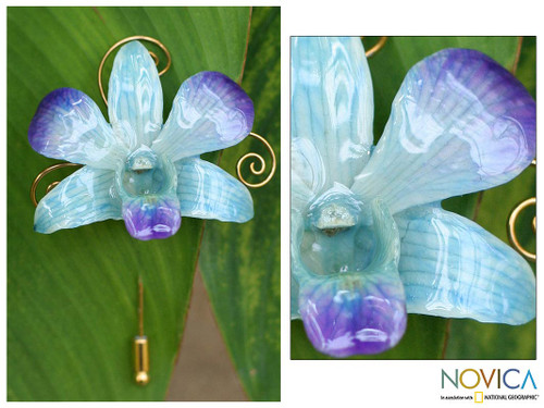 Natural Orchid Gold Plated Stick Pin  'Forever Blue'