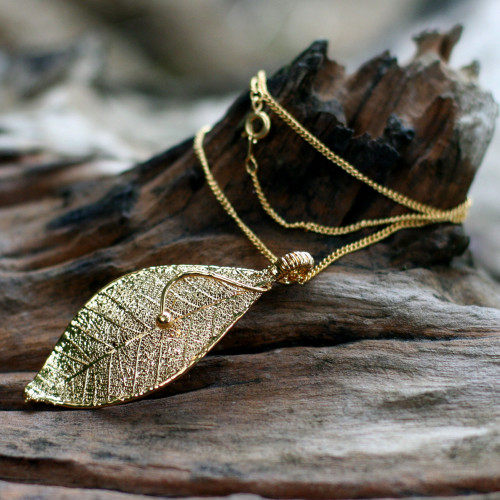 Gold Plated Leaf Pendant Necklace 'Forest Solo'