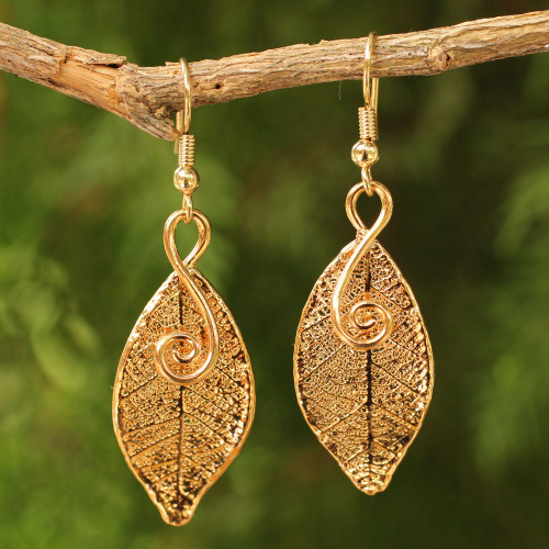 Artisan Crafted Gold Plated Leaf Earrings 'Forest Duet'