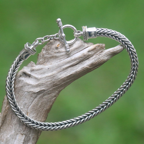 Sterling Silver Link Bracelet from Indonesia 'Dragon Braid'