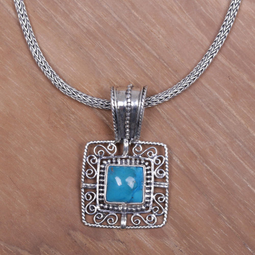 Turquoise Sterling Silver Pendant Necklace 'Blue Regency'