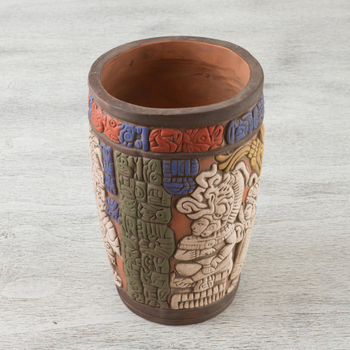 Hand Crafted Archaeology Museum Replica Ceramic Vase 'Maya King of Tikal'