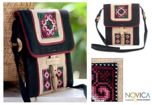Hill Tribe Embroidered Hemp Shoulder Bag  'Ethnic Stars'