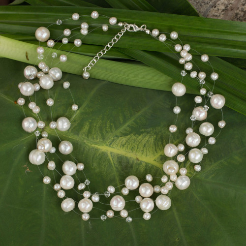 Bridal Pearl Necklace 'Ivory Fishnet'