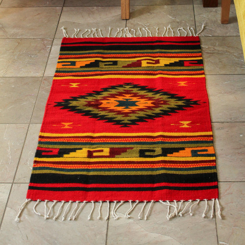Handmade Zapotec Wool Area Rug 2x3 'Green Maguey'