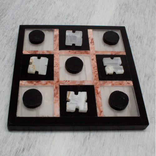 Marble Tic Tac Toe Board Game from Mexico 'Rose on Black'