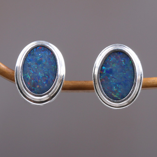 Handcrafted Sterling Silver and Opal Earrings 'Honesty'