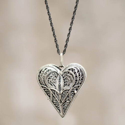 Hand Crafted Heart Shaped Sterling Silver Locket Necklace 'Filigree Heart'