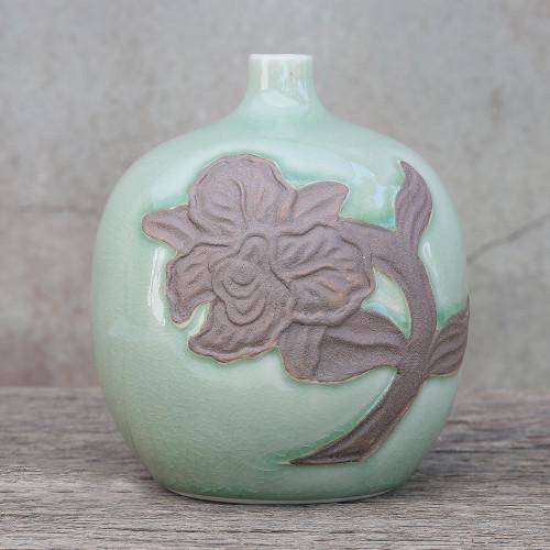 Celadon ceramic vase 'Green Orchid Bubble'