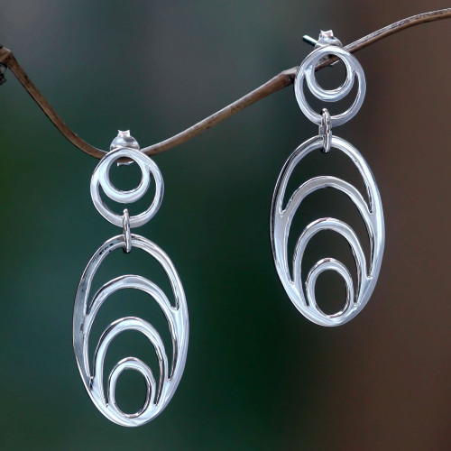 Sterling silver dangle earrings 'Expansion'
