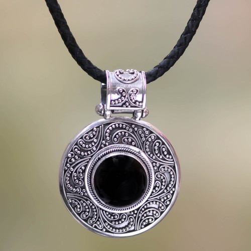 Indonesian Onyx Sterling Silver Pendant Necklace 'Midnight Beauty'