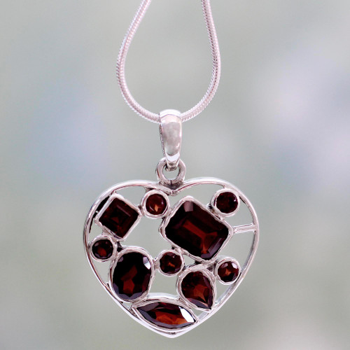 Garnet Heart Necklace Artisan Crafted Birthstone Jewelry 'My Love'