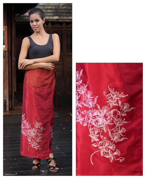 Handcrafted Silk Sarong 'Bright Blossoms'