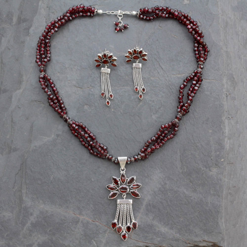 Fair Trade Sterling Silver Beaded Garnet Jewelry Set 'Daisy Passion'