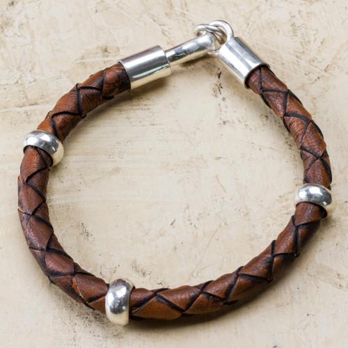 Men's Leather Sterling Silver Braided Bracelet 'Chankas Warrior in Light Brown'
