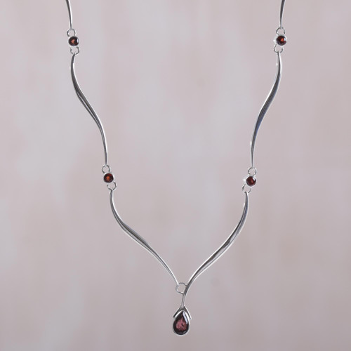 Handcrafted Sterling Silver and Garnet Necklace 'Silver Tendrils'